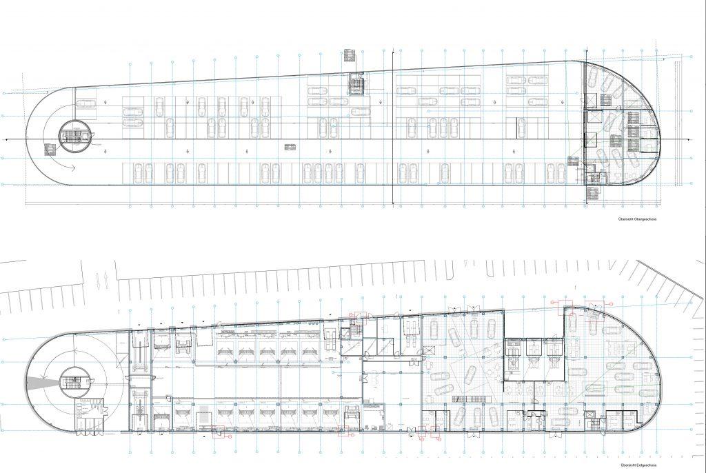 Übersichtsplan Details Fassade Autohaus Hahn